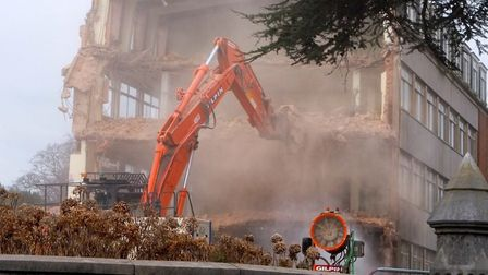 Demolition of the former Rolle College taking place to make way for the Deaf Academy. Picture: David