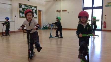St Joseph's children had a day of skateboarding and scootering run by Liam from Team Rubicon. Pictur