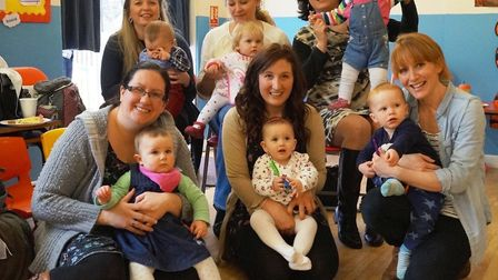 Mums and babies at Exmouth breastfeeding support group 'Bosom Buddies', in 2014. Left to right, back