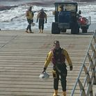 Recovery of Exmouth RNLI's inshore lifeboat after it came to the aid of a kite surfer