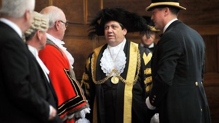 Mayor making at City Hall in Norwich. Councillor Keith Driver dons the Lord Mayor's robes for the fi