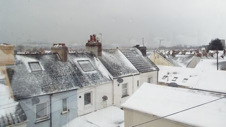 Snow on Exmouth's rooftops, March 2, 2018. Picture: Paul Strange.