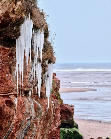 Freezing conditions along the Jurassic Coast, Exmouth in the cold weather. Picture: 'Rev'd Huw'.