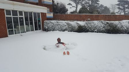 Alam having fun in the snow at Devoncourt Hotel. Picture: Jamie Dawe - Asistant Manager at Devoncour