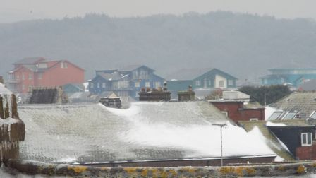 Snow looking out towards Exmouth's marina, March 2, 2018. Picture: Paul Strange.