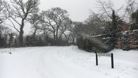 The top of Bystock Road and Dinan Way yesterday afternoon! Very eerie without any cars running. Pict