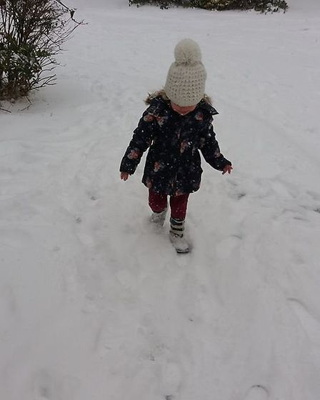 My 3 year old loving the snow yesterday. Picture: Samantha Morgan