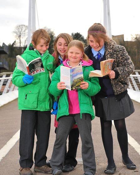 Cameron and Rhianna Green and Ruby and Lucia McNamara launch the EDP/Briar Chemical Schools Poetry C