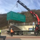 The new Orcombe Point kiosk being installed this week. Picture: EDDC