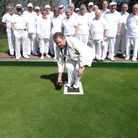 Phear Park bowlers watch the president bowl the first wood of the new season