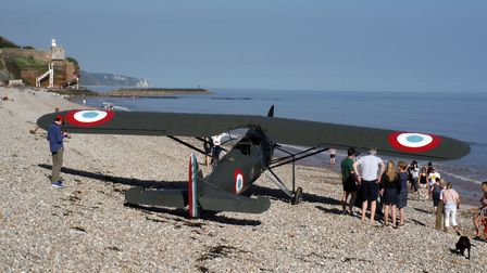 The plane which was landed on Jacob's Ladder beach, Sidmouth on Saturday, May 5. Picture: Simon Horn
