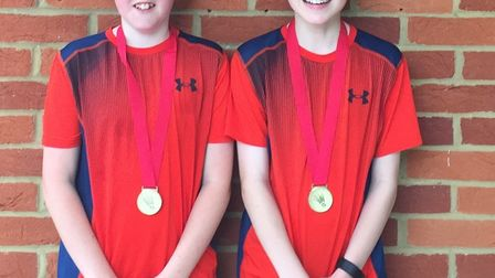 Jonty Wright (left) and Andrew Harrison, who won gold in the doubles of the Hampshire Under-14 Open