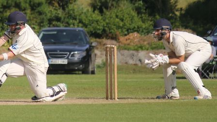 Exmouth batsman Dan Pyle on his way to a half century in the game against Exeter. Picture GERRY HUNT