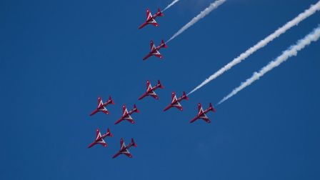 Red Arrows Typhoon roll at Torbay air show. Picture: Jason Sedgemore