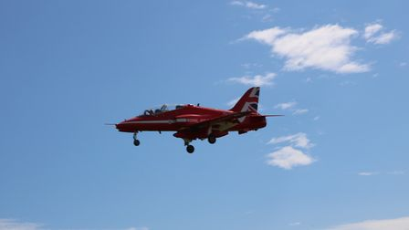 Red Arrows & Chinook at Exeter Airport for the Torbay Airshow. Picture: Denise Underwood
