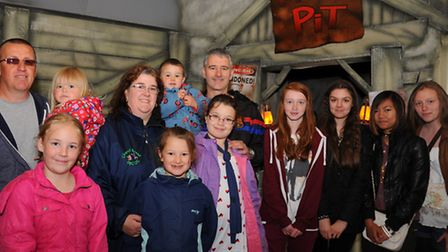 Competition winners wait to try out the Hobs Pit attraction at Pleasurewood Hills. Photograph Simon
