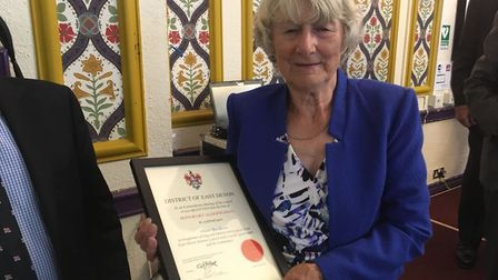 Pat Graham has beennamed an honourary alderwoman of East Devon District Council for her services to