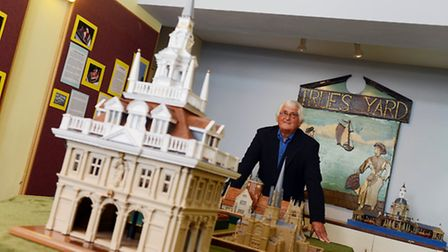 Fred Hall and his historic models of King's Lynn, which are on show at the True's Yard Museum in a s