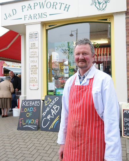 The new Tesco store in Sheringham. Papworth's butchers manager Allan Webster.PHOTO: ANTONY KELLY