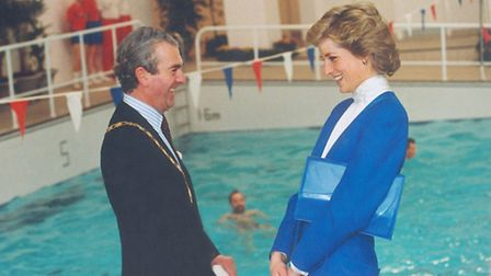 The Princess of Wales sharing a joke with council chairman Anthony Duckworth-Chad at the opening of