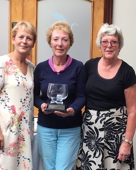 Woodbury Park golfers Angela Mullerworth, Valerie Dillon and lady captain Ann Spiller. Picture CONTR