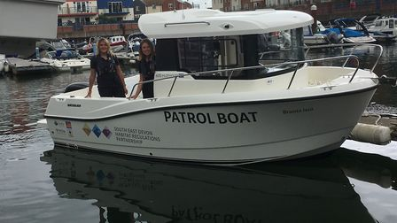 SEDHREC Habitat Mitigation Officers on a new patrol boat for the Exe Estuary. Picture: Contributed