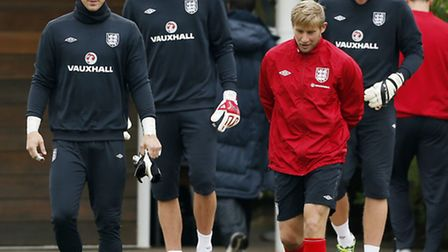 Joe Hart (front left) and Dave Waston (red) with Fraser Forster and John Ruddy during England duty l