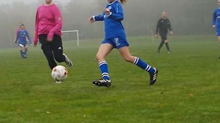 Action from the Brixington Blues U16 girls win over Plainmoor. Picture CONTRIBUTED
