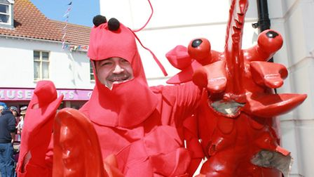 Wayne Hubbard of Coltishall, who celebrated his 39th birthday visiting the festival in lobster costu