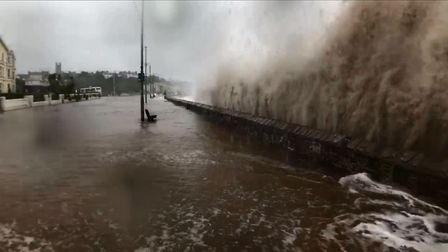 Photo of waves battering Exmouth's existing sea wall during 'Storm Callum' in October. Picture: Tom