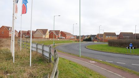 The Millennium Way roundabout where the Lowestoft Northern Spine Road will join. Picture: James Bas