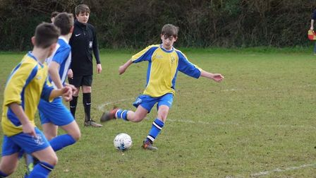 Action from the Brixington Blues Under-13s versus Ottery St Mary in an Exeter and District Youth Lea