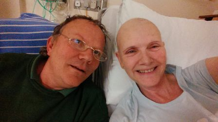 Jenny and her husband Duncan in hospital in 2014. Picture: JS.