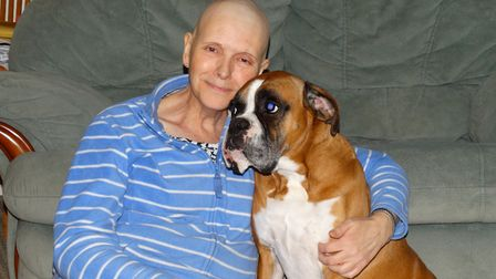 Jenny with her boxer dog Tilly during chemotherapy in 2014. Picture: JS.