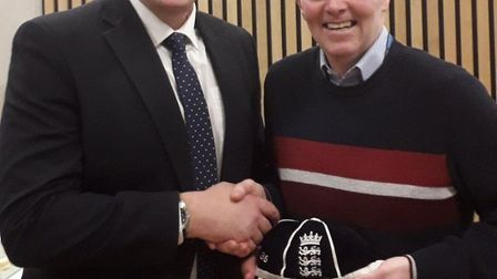Mark Woodman (right) receiving his cap at Lords from Ashley Giles. Picture CONRAD SUTCLIFFE