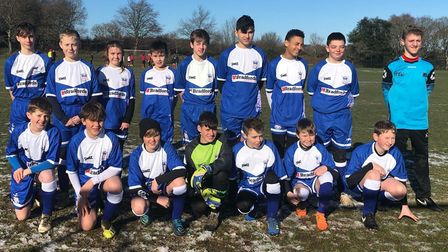 Exmouth Town Under-13s wearing their new kit, provided by Plymouth-based kit manufacturing company S