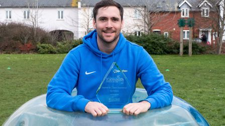 Danny Lewis of Sporty Stars with his Exmouth business award. Ref exe 08 19TI 1000729. Picture: Terry