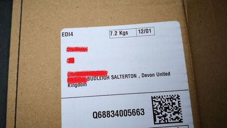 The Budleigh Salterton address found on one of the dumped boxes.