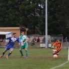 Action from the Exmouth Town 4-0 win over Plymouth Argyle Reserves at Southern Road. Picture GERRY H