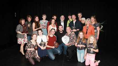 Award winners from last year's festival, with adjudiactor Alan Hayes centre back row. Picture: Emma