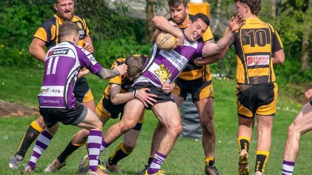 Alex Goldman in action for Exmouth 2nds during the win over Crediton 2nds. Picture EXMOUTH RFC
