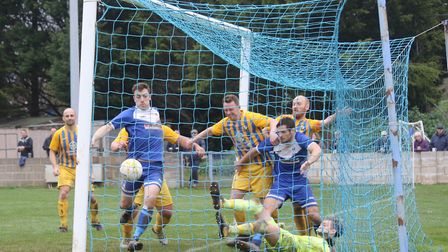 Jordan Harris scores Exmouth Towns third goal in the 3-1 home win over Sticker. Picture GERRY HUNT