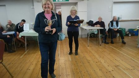 Karen Rowley (foreground) receiving the Furze Cup for best Alpine. Picture: Judith Stewart-Young