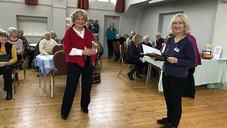 Diana Tremlett receiving cup for best horticultural entry with chairman Sue Peters. Picture:Janet Pa