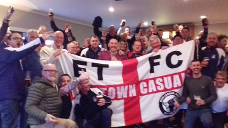 Exmouth Town supporters who travelled to support the team in the 5-1 win at Launceston. Picture MART