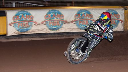 Somerset Rebels captain, Chris Harris 'Riding the Boards' during the meeting with Birmingham. Pictur
