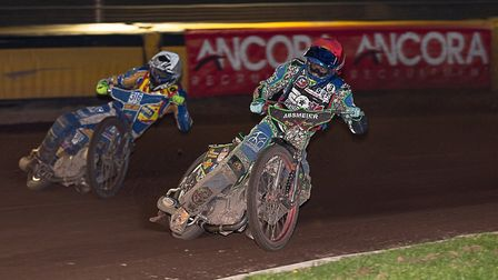 Somerset Rebels rider Valentin Grobauer takes his first UK win from a charging Ulrich stergaard in t