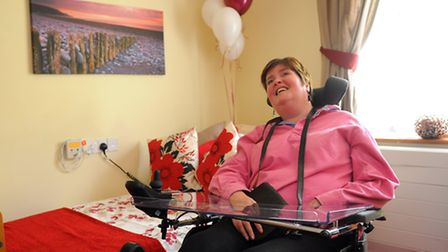 Elaine Loades in the new MS care room at Hassingham House in Hingham. Photograph Simon Parker