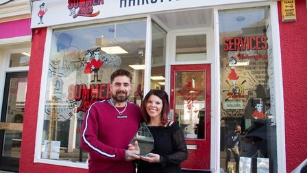 Mark and Karen Loftin of Summer and Lola with their Exmouth Business award. Ref exe 13 19TI 1202. Pi