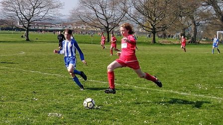 Action from the Exmouth United U14 win over Central. Picture EUFC